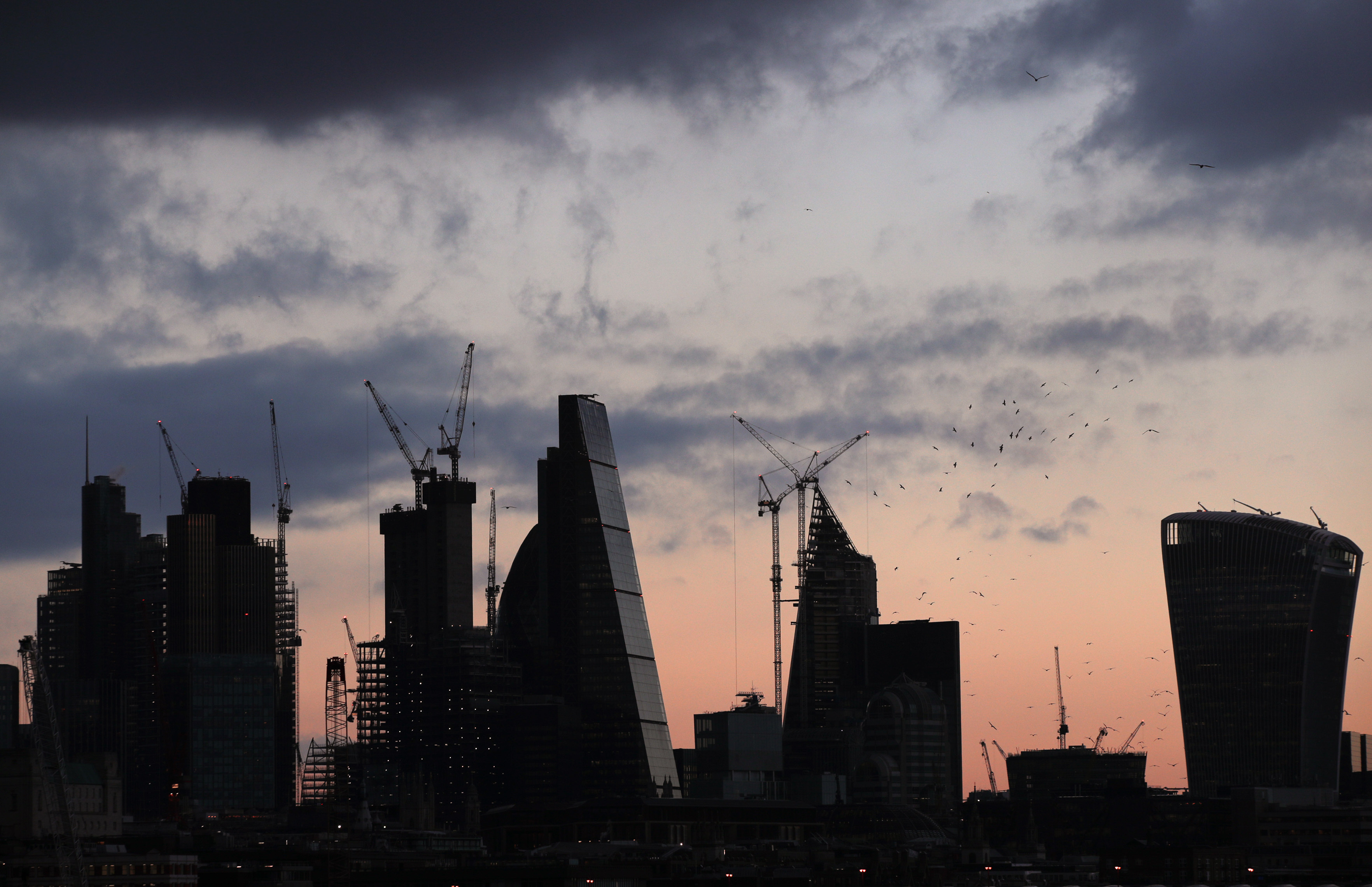 A view of the City of London skyline before sunset. (Photo by Yui Mok/PA Images via Getty Images)