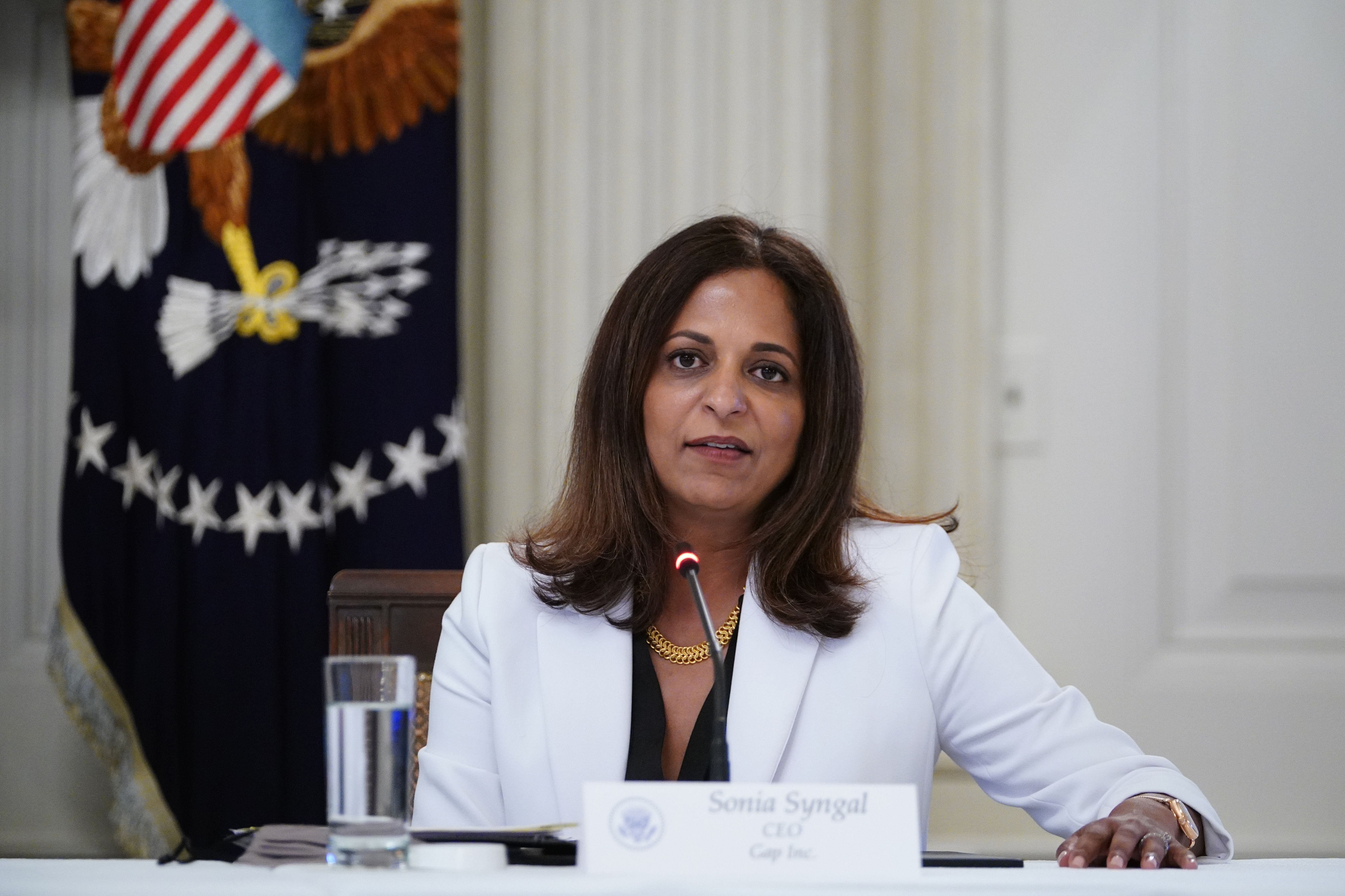 CEO of Gap Inc. Sonia Syngal speaks during a roundtable discussion with industry executives and US President Donald Trump on reopening the country, in the State Dining Room of the White House in Washington, DC on May 29, 2020. (Photo by MANDEL NGAN / AFP) (Photo by MANDEL NGAN/AFP via Getty Images)