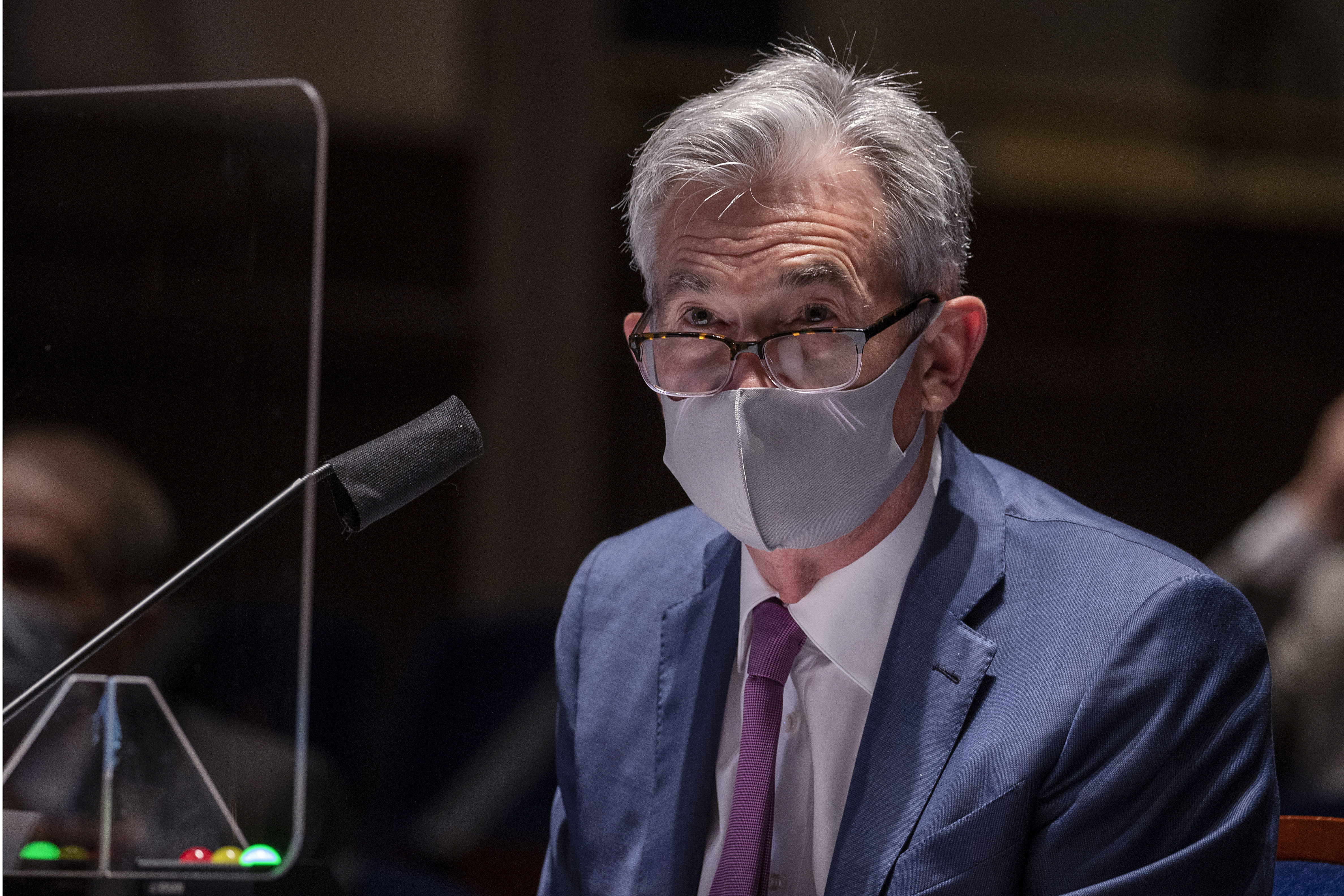 Federal Reserve Chairman Jerome Powell, wearing a face mask, testifies before the House of Representatives Financial Services Committee during a hearing on oversight of the Treasury Department and Federal Reserve response to the outbreak of the coronavirus disease (COVID-19), on Capitol Hill in Washington, U.S., June 30, 2020. Tasos Katopodis/Pool via REUTERS