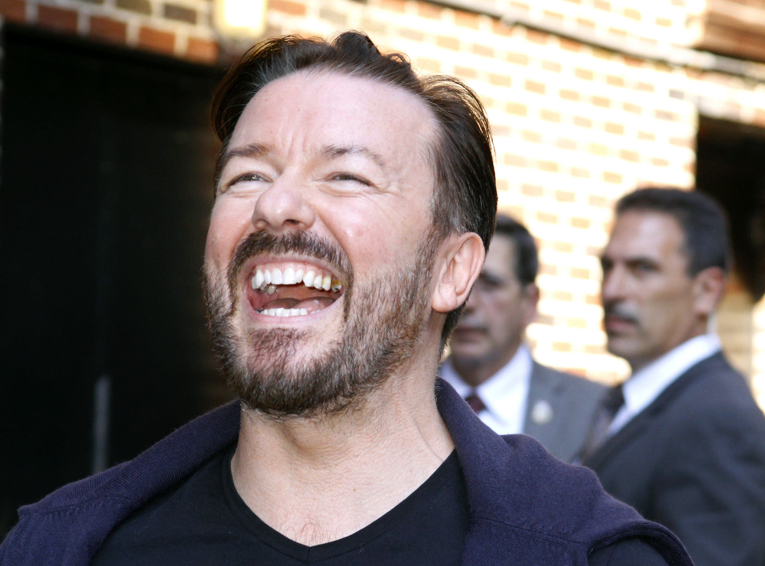 """NEW YORK, NY - AUGUST 02: Ricky Gervais leaves the  """"Late Show With David Letterman"""" at the Ed Sullivan Theater on August 2, 2011 in New York City. (Photo by Donna Ward/Getty Images)"""
