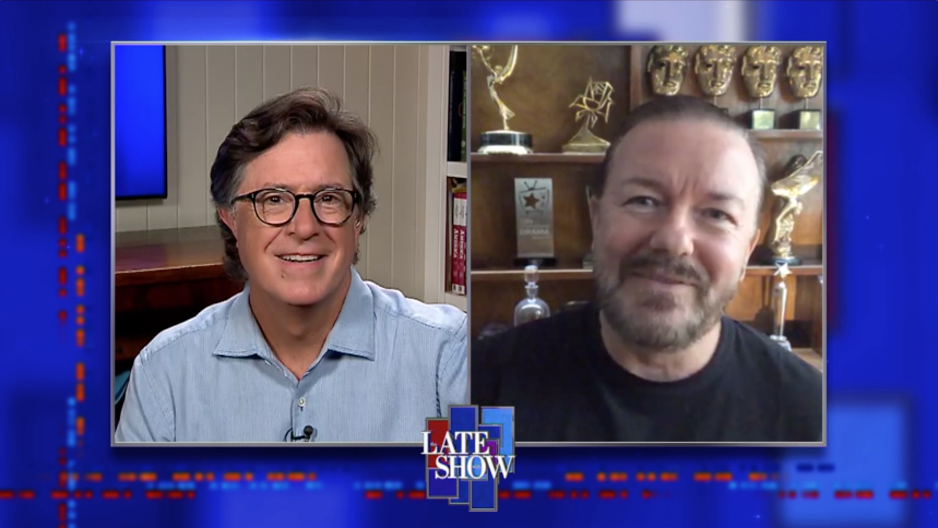 NEW YORK - JULY 15: The Late Show with Stephen Colbert and Ricky Gervais during Wednesday's July 15, 2020 show. Image is a screen grab. (Photo by CBS via Getty Images)