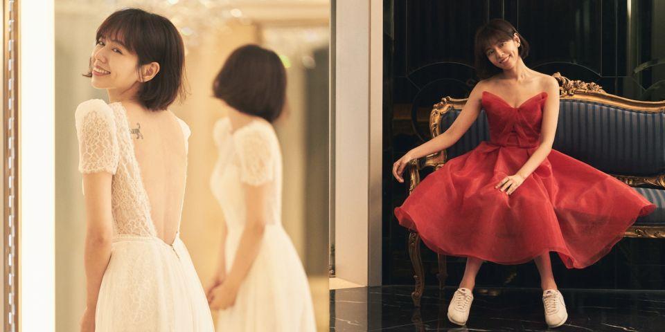 夏于喬命定婚紗暗藏老公的甜蜜情話!露背蕾絲白紗、紅色雞尾酒小禮服出自Jasmine Galleria量身訂做