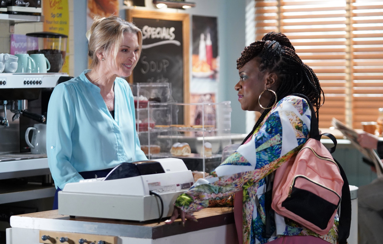 Kath Beale (Gillian Taylforth) works in the cafe and has now opened a gay bar (BBC)