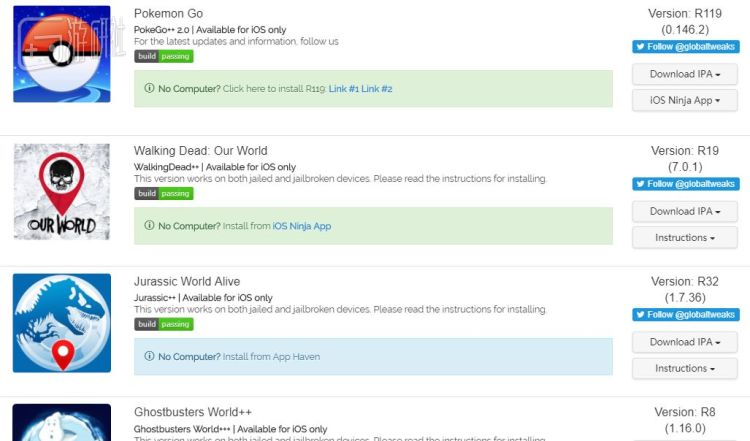 Global++的產品列表,包含了許多 AR 遊戲(Credit:游研社)