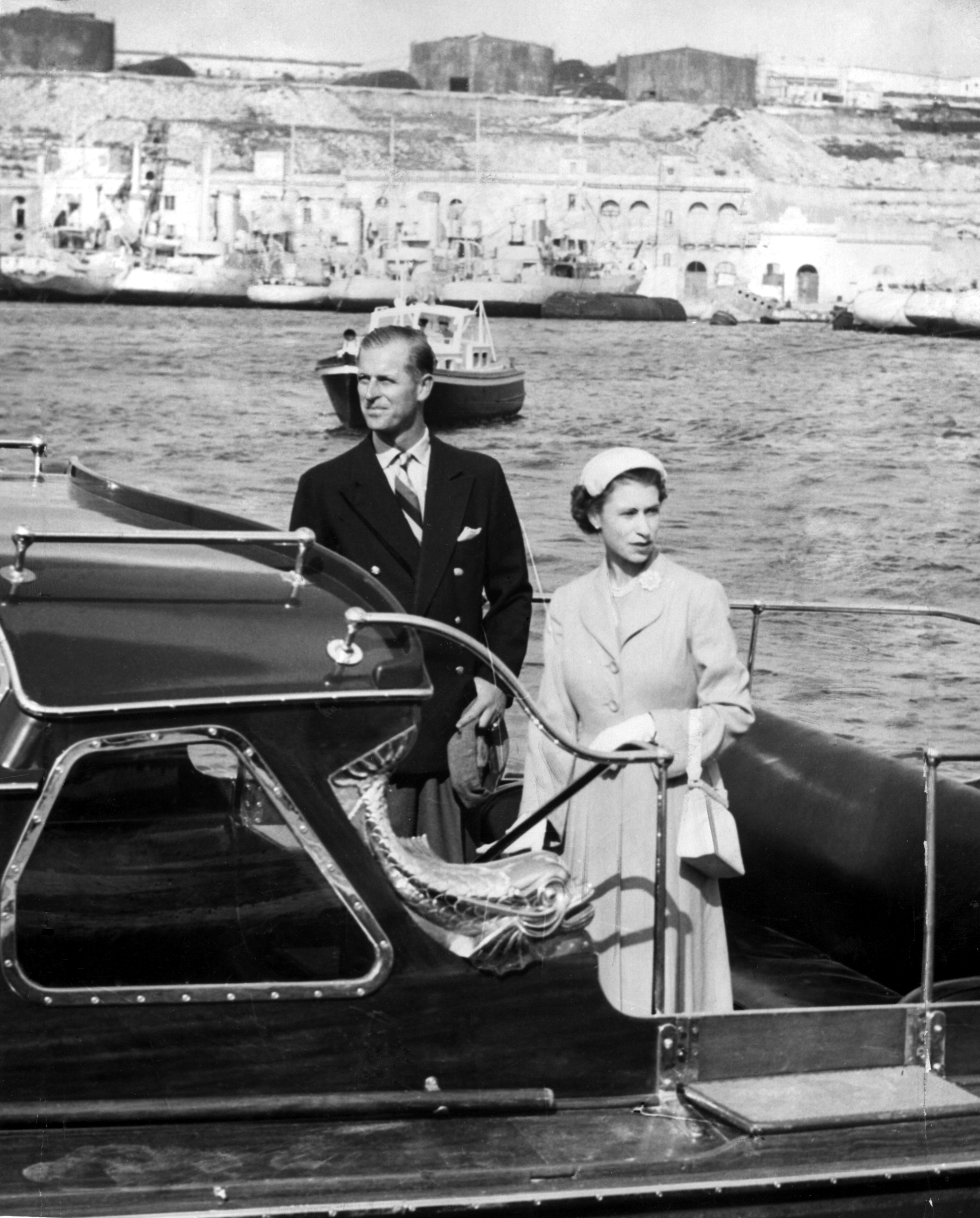 The royal newlyweds photographed leaving Malta back in 1950 [Photo: Getty]