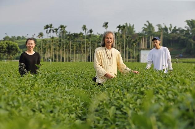 低海拔的名間是茶農陳錦昌(中)一家的故鄉,30歲的女兒陳建伶(左)是陳家第五代投入茶產業,「我想保留曾祖父時代的技藝,」她說。(王建棟攝)