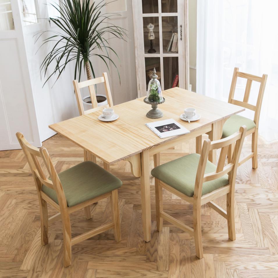 ▲以實木打造的餐桌椅,多功能的設計可依據使用人數來調整桌面的大小,很適合空間有限的小家庭。(圖片提供/CiS自然行)
