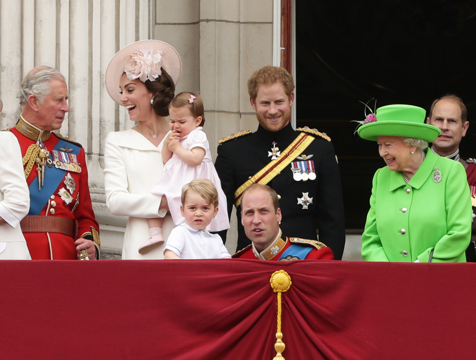 Harry with Kate and William and their children Princess Charlotte and Prince George at Trooping the Colour 2016. [Photo: PA]