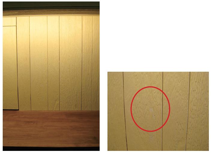 實木皮用得好是可以為空間加分,但選料時要小心,圖為傳出多起變色或出現黑斑問題的梧桐木皮。(網友Ying提供)