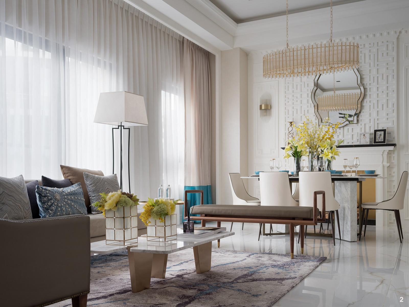 2. 新古典風格居家以明亮簡潔的線條感,對稱安排的精緻度,絕美呈現。