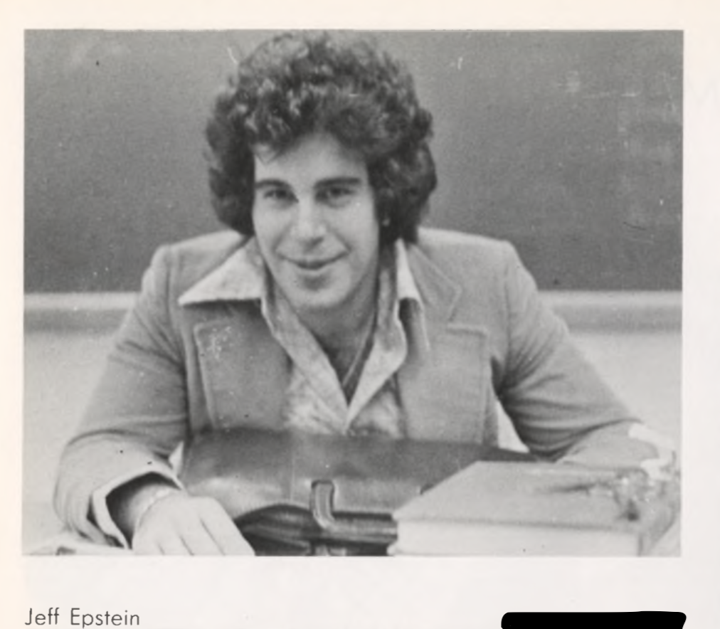 Epstein, here in Dalton's 1976 Yearbook, also helped to coach the Math Team during his time at the school. (Yahoo Finance)