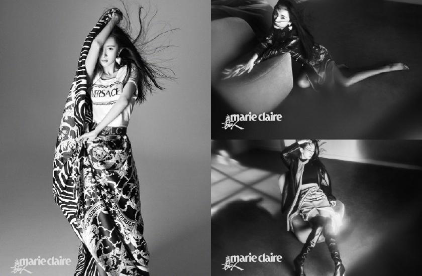 楊冪拍攝時尚照,雖是黑白卻展現強大的氣場。