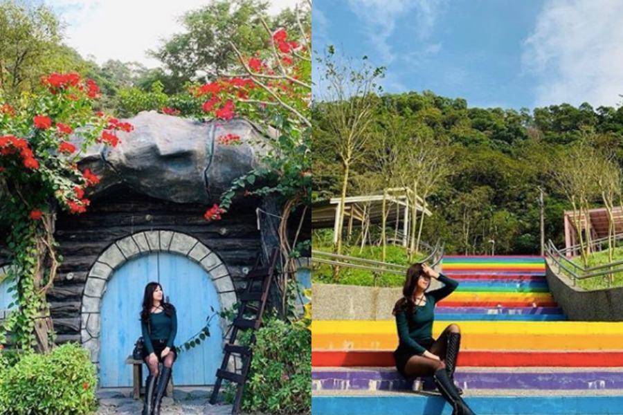 彩虹階梯和哈比人小屋,是涼山遊憩區的熱門拍照景點。