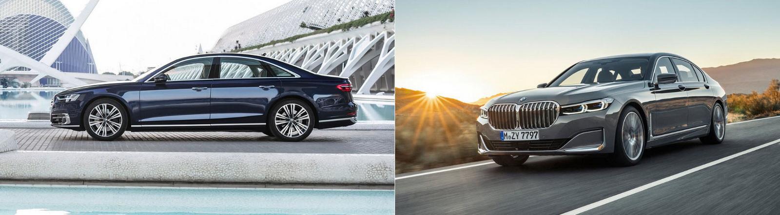 圖/Audi A8 50 TDI Quattro(左)展現出豪華房車該有的優雅線條,BMW 7-Series(NEW) 730i則在動靜之間皆充滿凜然風範。