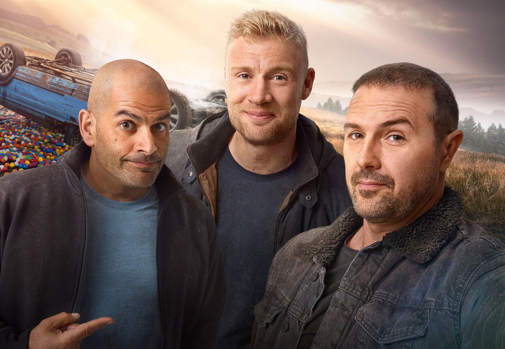 Chris Harris, Freddie Flintoff, Paddy McGuinness in <i>Top Gear</i>. (BBC)