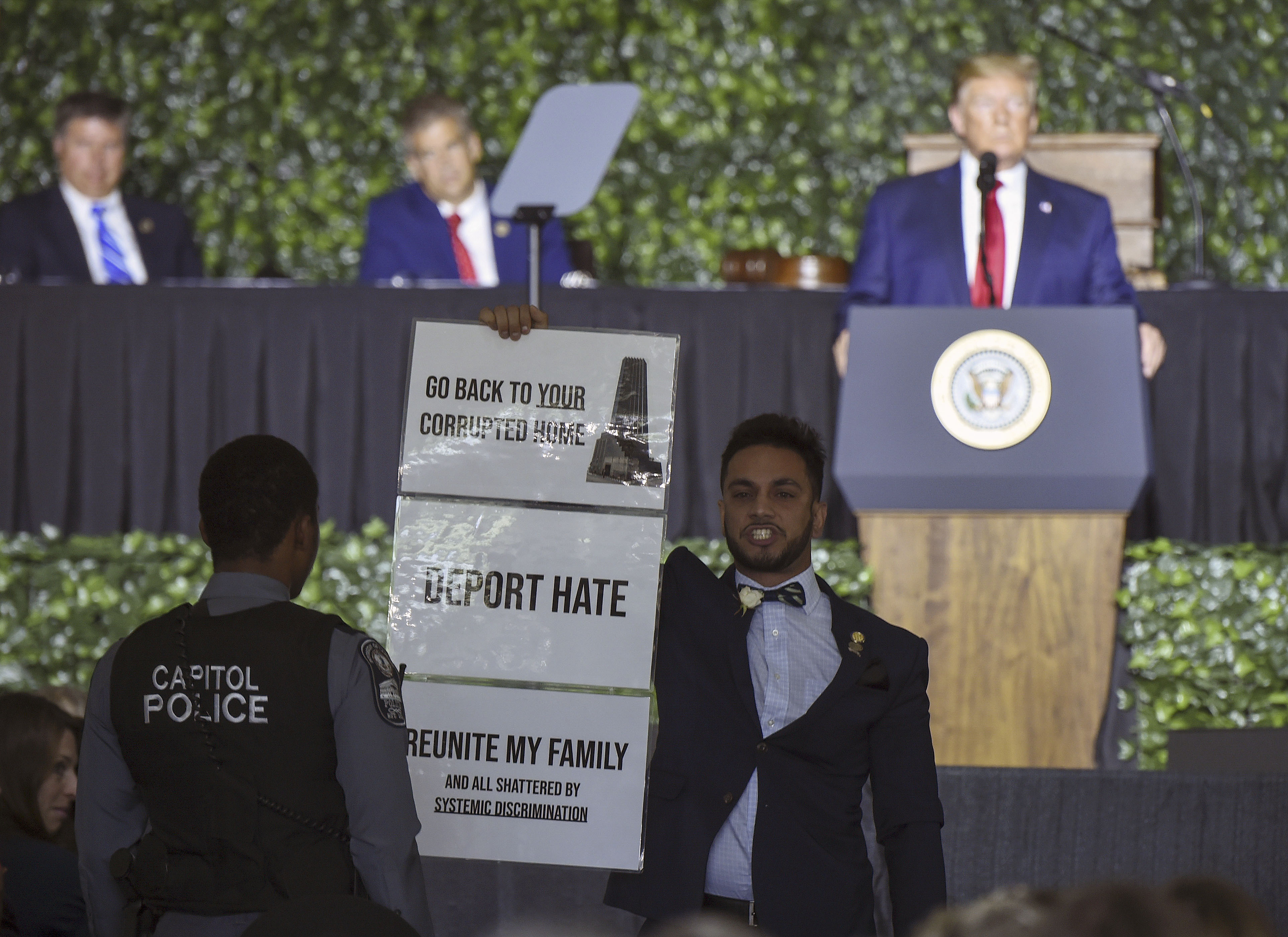Send him back: Angry reactions to Trump at Virginia event honoring foundations of democracy