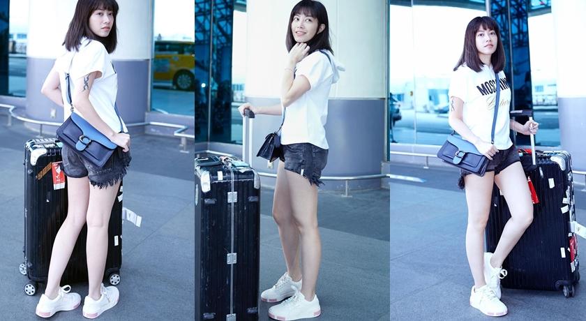 徐懷鈺機場穿搭,露出修長美腿。