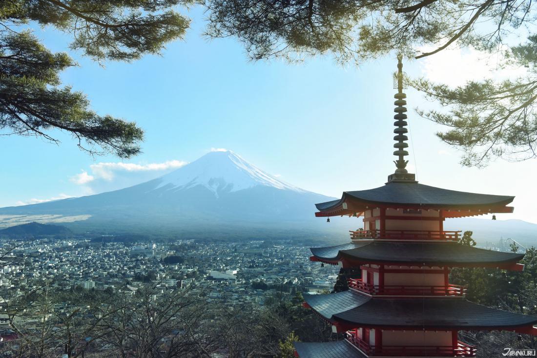 新倉富士淺間神社眺望富士山。