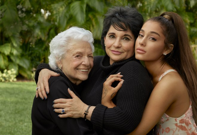 Grande with her grandmother, Marjorie and mother, Joan. Image via Vogue magazine. Photograph by Annie Leibovitz.