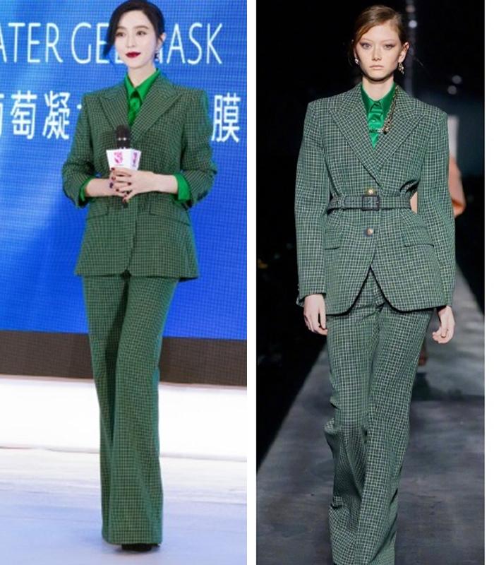 范冰冰身穿Givenchy 2019秋冬墨綠色西裝套裝。