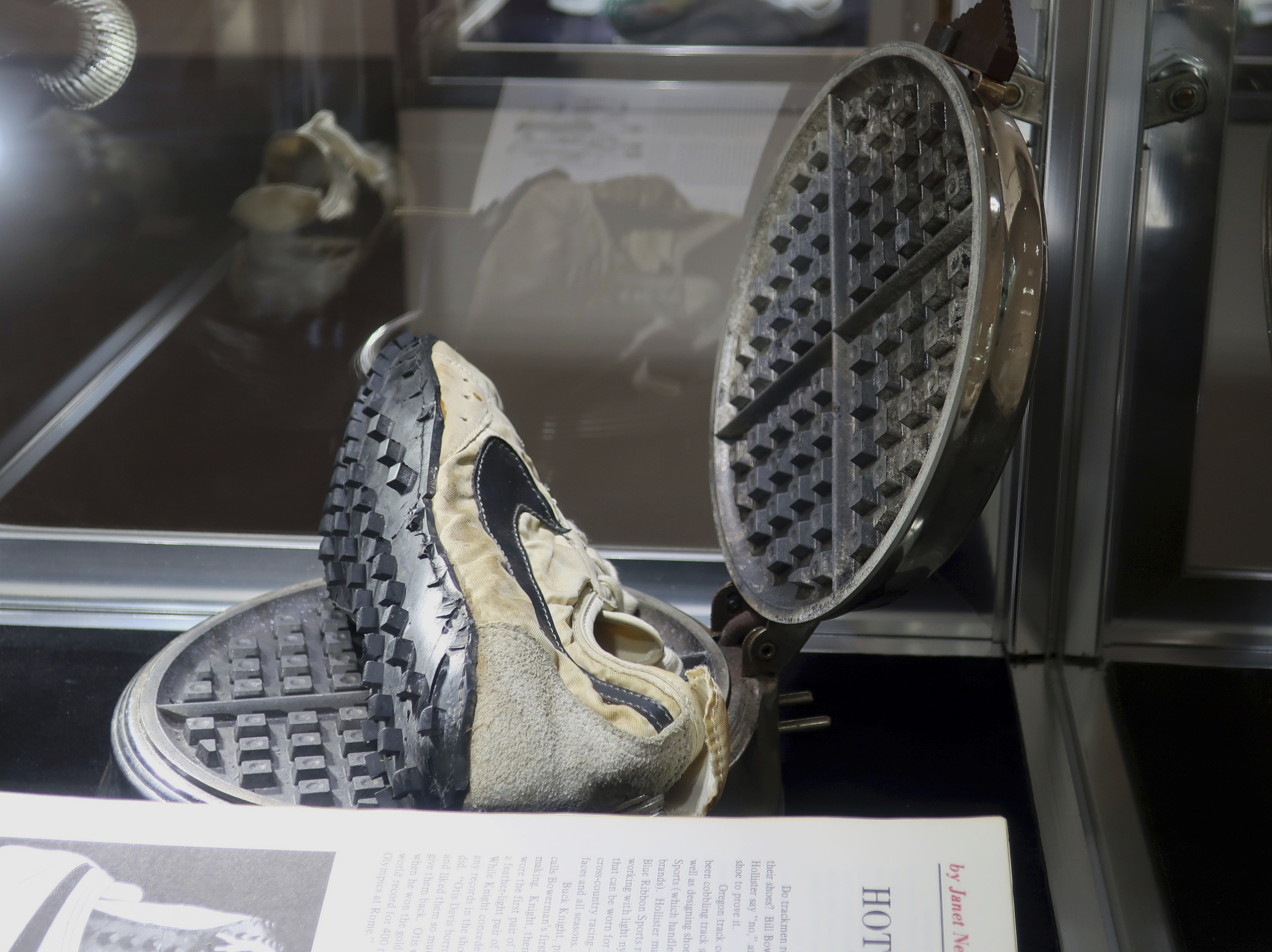 """Nike's """"moon shoes"""" were estimated to sell for $160,000 at auction, but ended up selling for $437,500. (AP Photo/Ted Shaffrey)"""