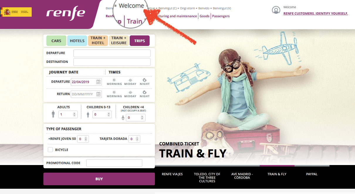 """點選畫面上方 """"Welcome"""" 可以進入英文網頁,但 Renfe 網站和放票規律一樣也是很隨性,英文版網頁並不是全英文,偶爾還是會看到一些西班牙文"""