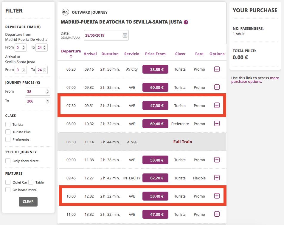 四月第二週查詢的票價,某些班次票價已經上漲