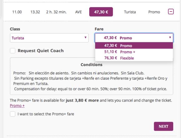 每班火車有不同的艙等,即使是同一艙等還有 Promo、Promo+、Flexible 三種票種,主要差異在於改票換票的彈性。這部分資訊,即使是在英文版網頁,也是夾雜西班牙文和英文,還好有 Google Translate 的功能幫忙,重要資訊不至於看不懂