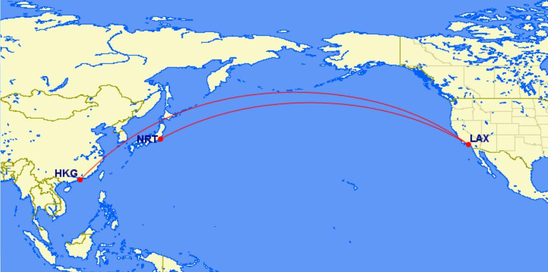 香港~洛杉磯~東京:(1) 國泰航空+日本航空航班/(2) 皆為美國航空航班