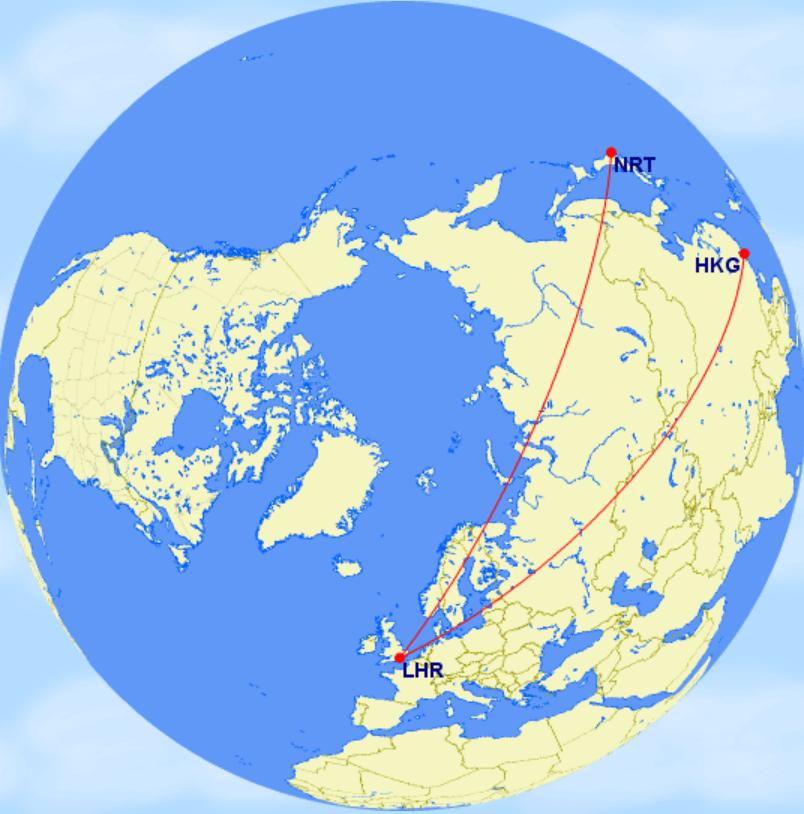 香港~倫敦~東京:(1) 國泰航空+日本航空航班/(2) 國泰航空+英國航空航班/(3) 皆為英國航空航班