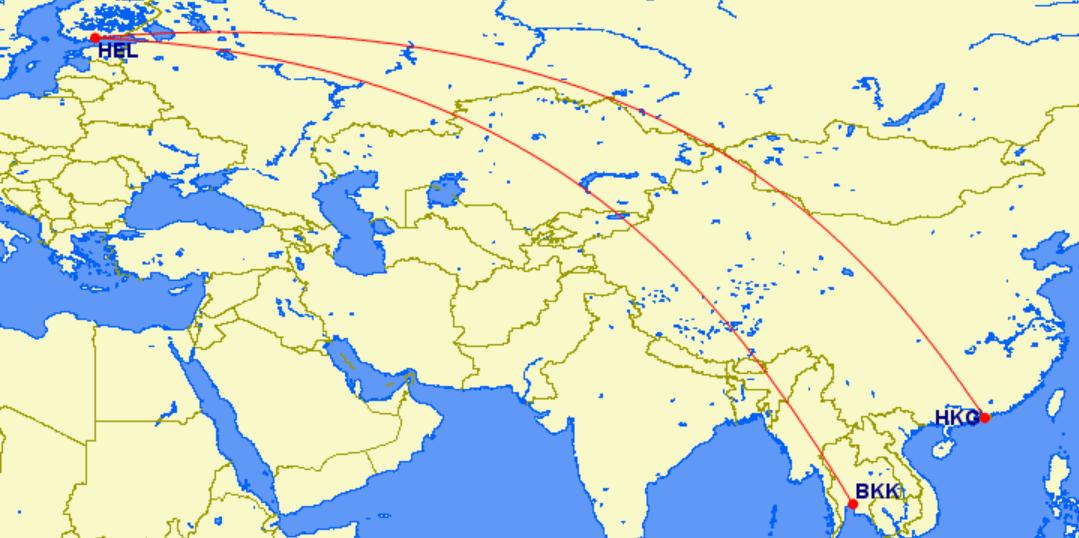 香港~赫爾辛基~曼谷:皆為芬蘭航空航班