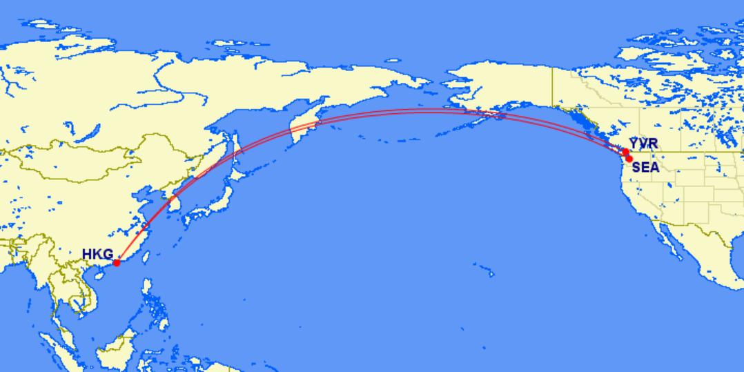 西雅圖~香港~溫哥華:皆為國泰航空航班