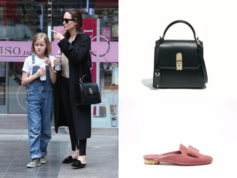 裘莉的手提包為新款BOXYZ、穆勒鞋為SCIACCA,皆來自Salvatore Ferragamo。(品牌提供)