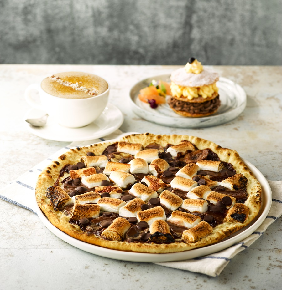 南京店「烤棉花糖香蕉巧克力Pizza」。圖片提供/Buckskin柏克金餐酒集團