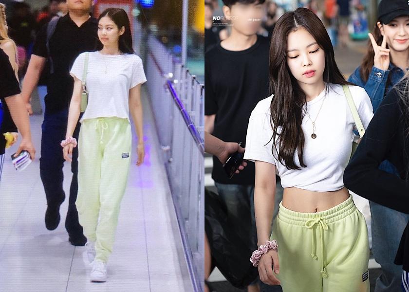 Jennie 私下機場造型穿搭,即使是寬鬆的 T 恤,也能一秒變身露肚裝。(翻攝自Jennie吧官博@weibo)