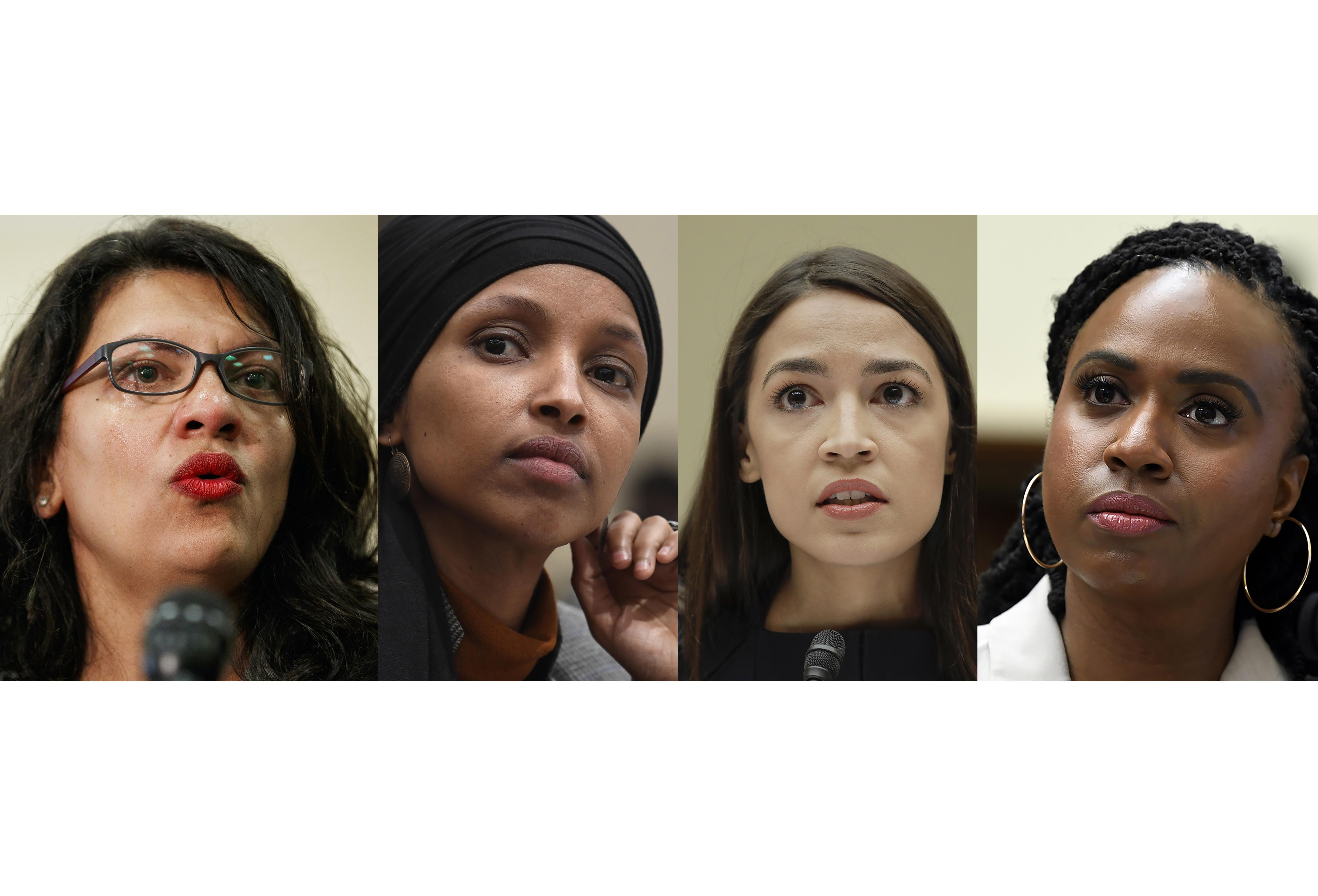 Rep. Rashida Tlaib, D-Mich., Rep. Ilhan Omar, D-Minn., Rep. Alexandria Ocasio-Cortez, D-NY., and Rep. Ayanna Pressley, D-Mass. (AP Photo)