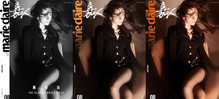 楊冪登時尚雜誌封面,首次嘗試在同一本雜誌上出現三個不同基調的封面,由黑白漸變過度到全彩,引起好評。