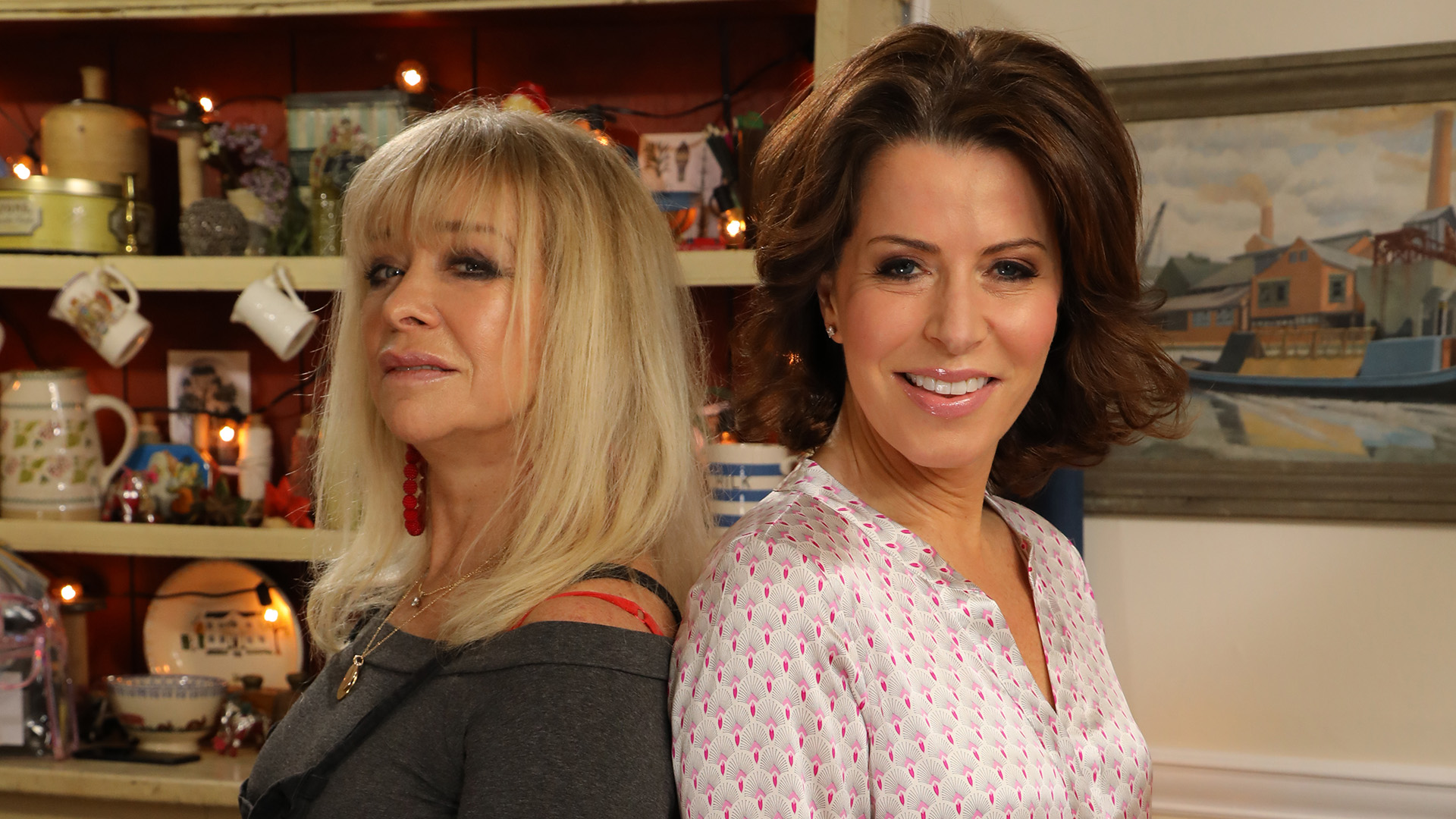 Jo Wood and Natasha Kaplinsky compete in 'Kirstie's Celebrity Craft Masters' (Credit: Channel 4)
