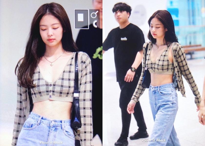 Jennie 最新機場造型挑戰短上衣的極限,這件衣服根本像內衣了。(翻攝自Jennie吧官博@weibo)