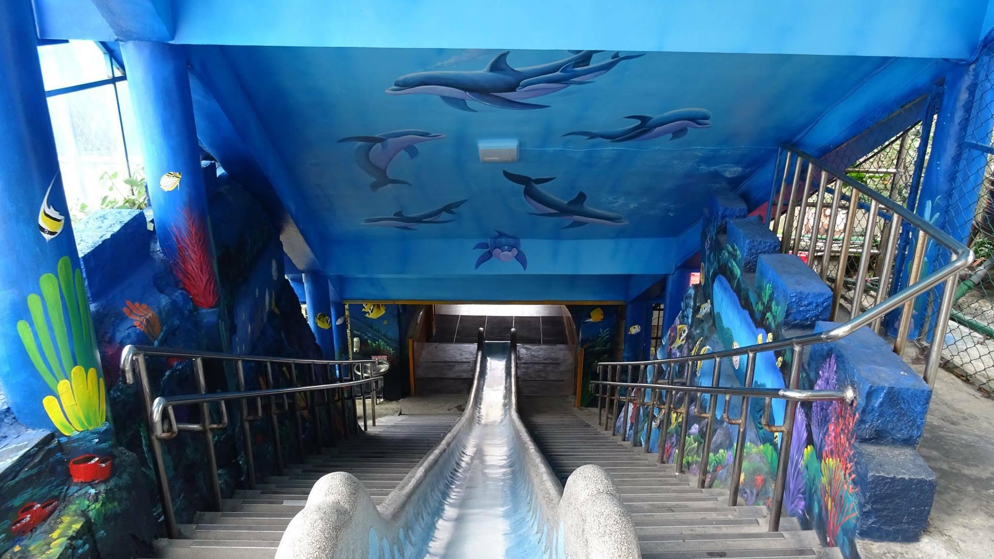 濂洞國小校內一大亮點是高兩層樓的室內磨石子溜滑梯。圖/濂洞國小臉書粉絲專頁