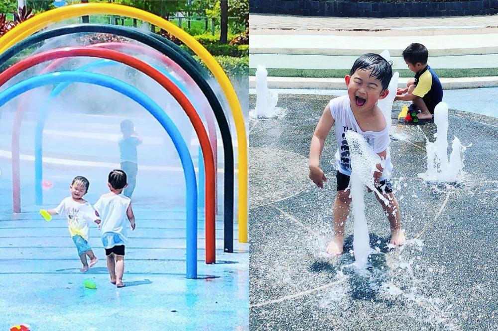 彩虹拱門和高低噴水柱,孩子們玩得不亦樂乎。