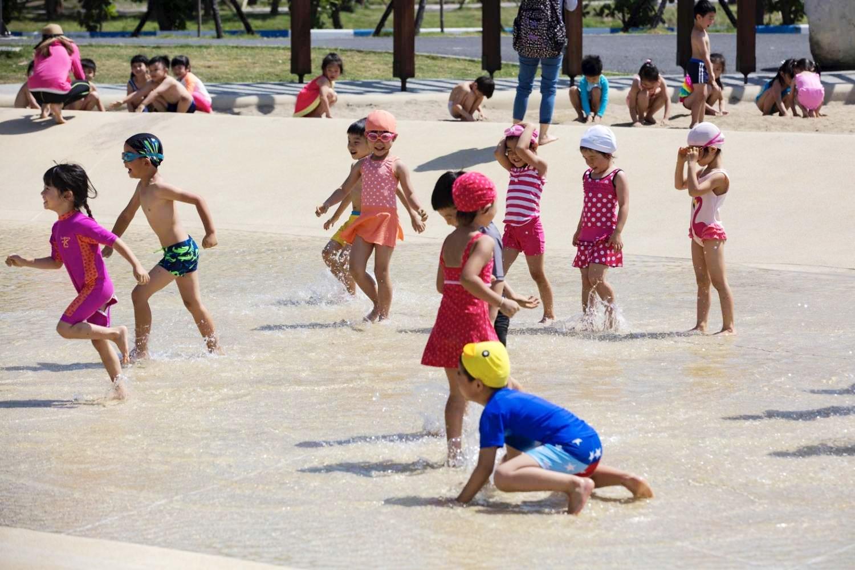 戲水池小朋友開心玩水 (圖片來源:新竹市政府)