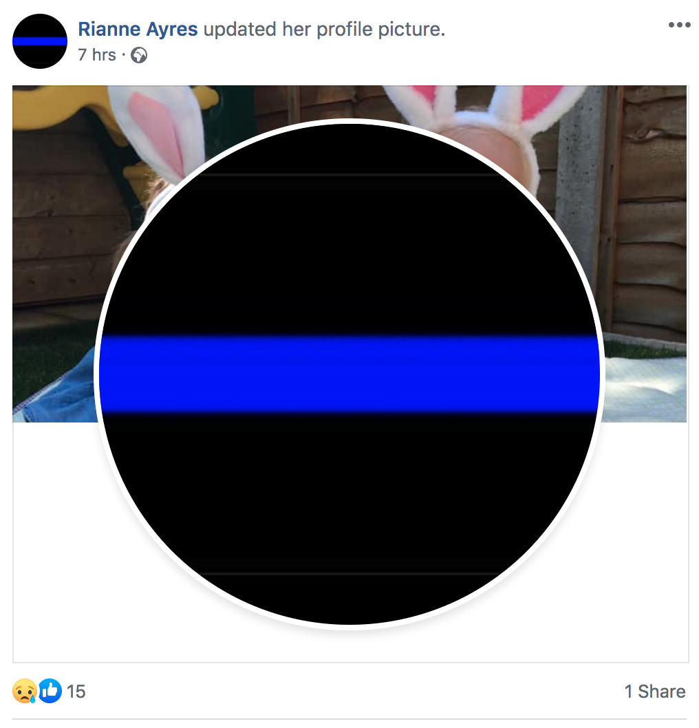 """Another of PC Harper's friends who changed their picture to the """"thin blue line"""". (Facebook)"""