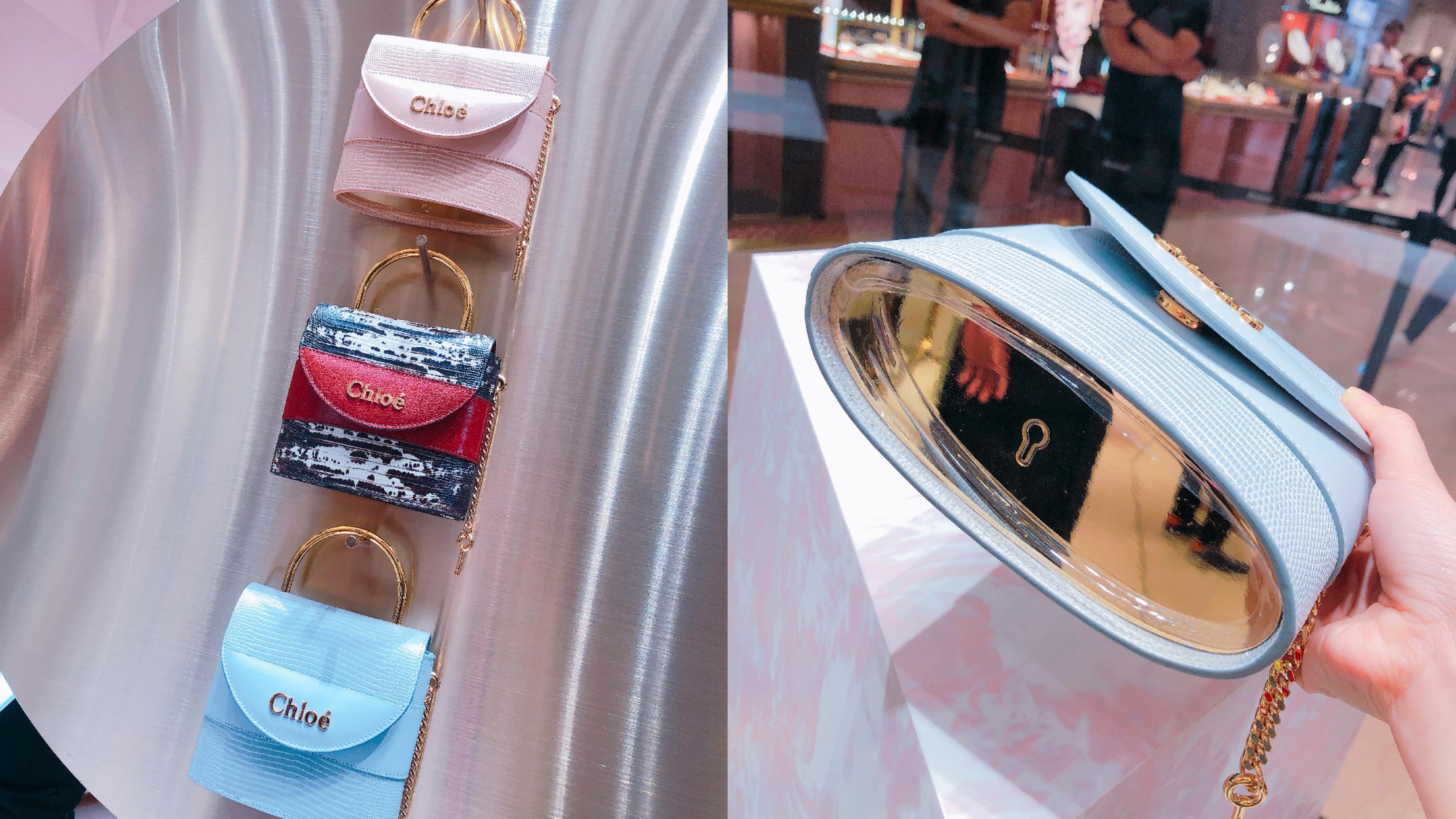 整個包包就是個鎖頭,包底的亮面設計,還能拿來當鏡子