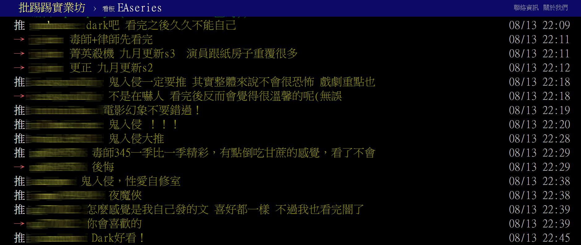 PTT美劇版畫面截圖
