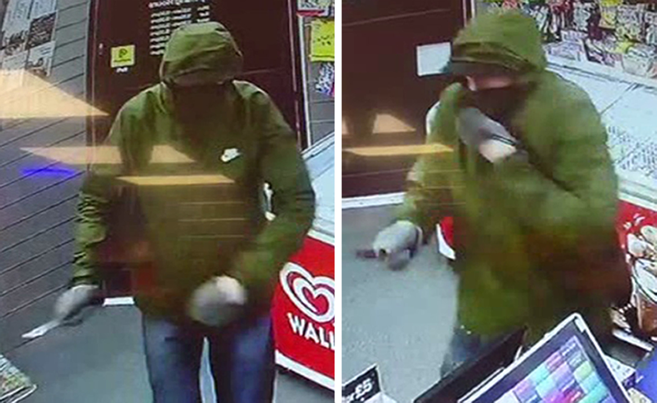 An 11-year-old girl scared off the armed robber (pictured) by throwing bread at him with her dad. (PA)