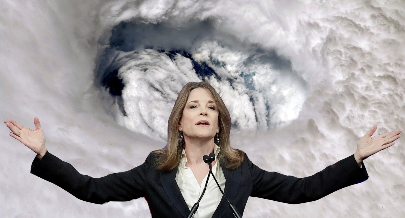 Marianne Williamson tweet suggests using the power of the mind to deter hurricane