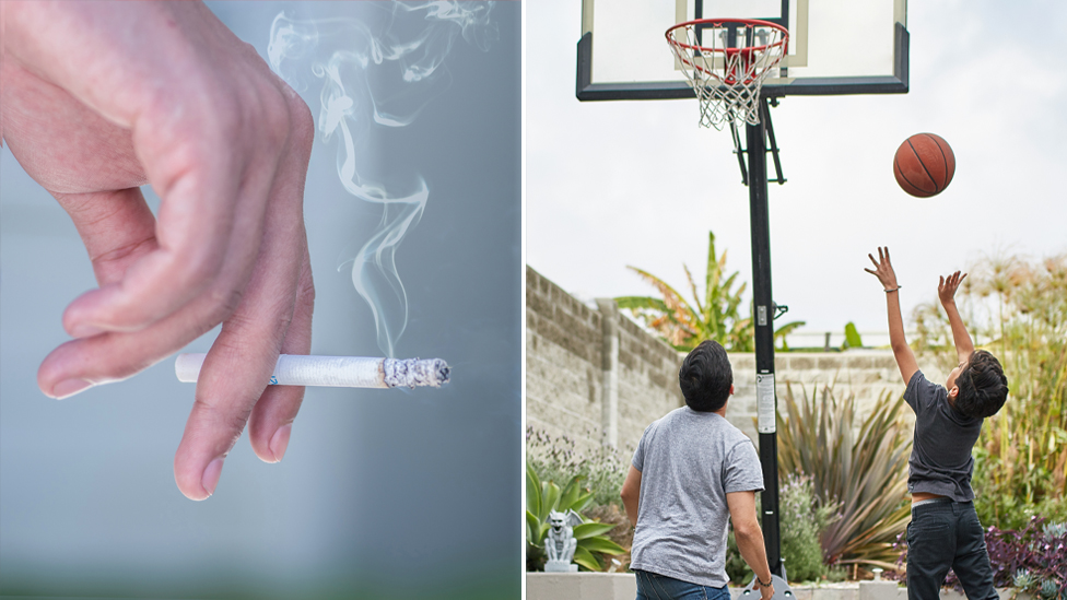 Photo shows a hand holding a cigarette and two children playing basketball. Source: Getty stock
