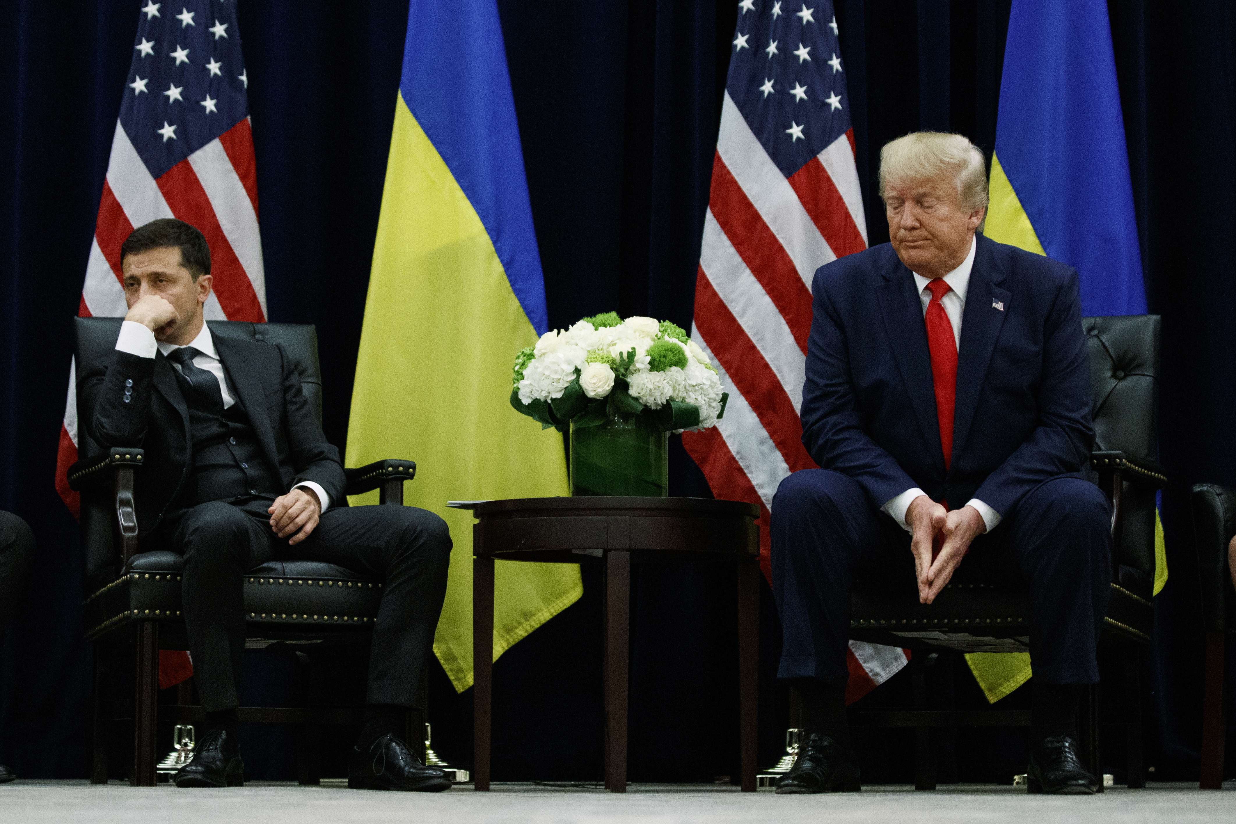 President Donald Trump meets with Ukrainian President Volodymyr Zelenskiy at the InterContinental Barclay New York hotel during the United Nations General Assembly, Wednesday, Sept. 25, 2019, in New York. (Photo: Evan Vucci/AP)