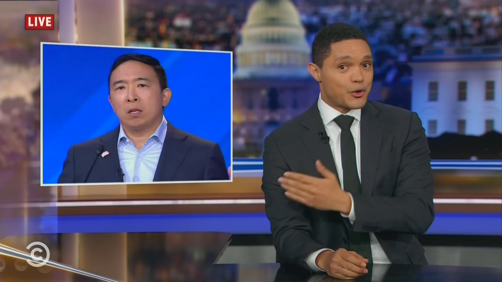 Late night hosts joke about Andrew Yang's freedom dividend contest: Asian Oprah